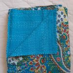 BS001S-Bedspread-Kantha-Turquoise-Paisley Single-01