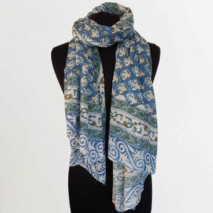 Cotton Scarf Blue Green Tree Design