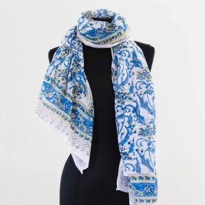 Cotton Scarf Blue Yellow Flower Design