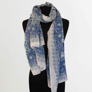 Cotton Scarf Green Blue Flower Design
