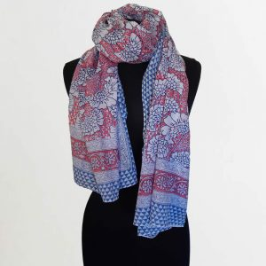 Cotton Scarf with Pink Blue Trees