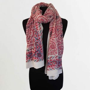 Cotton Scarf Blue Pink Paisley Design