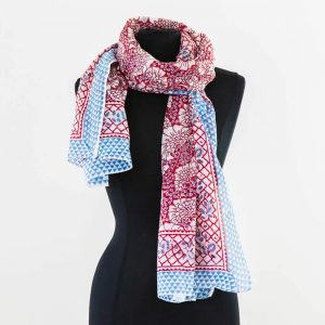 Cotton Scarf Red Blue Trees Design