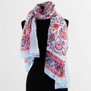 Cotton Scarf Red Turquoise Flower Design