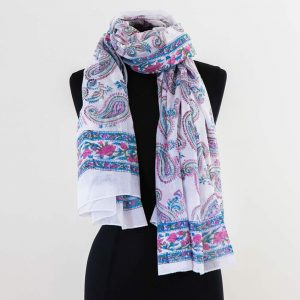 Cotton Scarf White Paisley Design