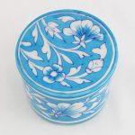 Blue Cyan White Ceramic Round Box 01