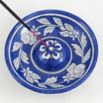 IHR001DB Floral Blue Incense Holder 02
