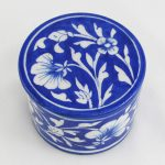 RB001DB Blue White Ceramic Round Box 01