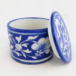 RB001DB Blue White Ceramic Round Box 02