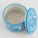 RB001T Blue Cyan White Ceramic Round Box 03
