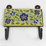 TH005Y Yellow Blue Floral Two Hook 01